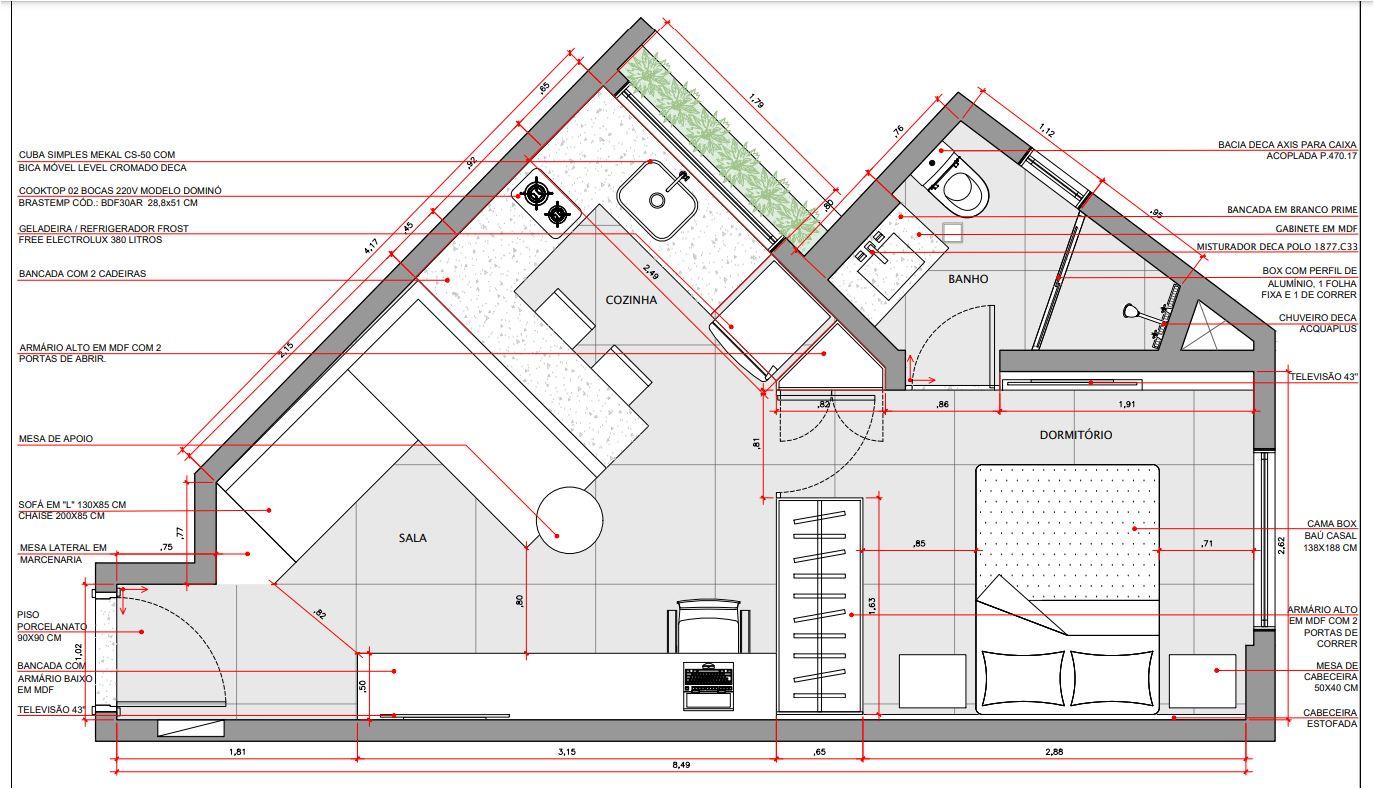 Apartamento triangular